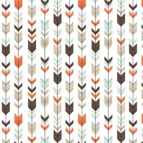 small scale - fletching arrows - mint/dark brown/tan/citrus orange wholecloth coordinate