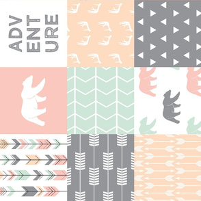 adventure woodland wholecloth (90) || pink,peach,grey, mint