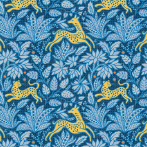 Fawn and Cat - Indigo/Citrus