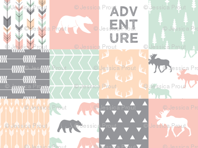 adventure woodland wholecloth  || pink,peach,grey, mint