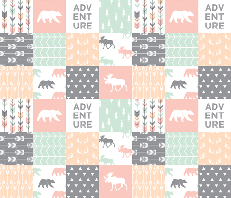 adventure woodland wholecloth  || pink,peach,grey, mint fabric by littlearrowdesign on Spoonflower - custom fabric