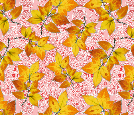 Pink Paisley Autumn Leaves fabric by patriciasheadesigns on Spoonflower - custom fabric