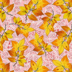 Pink Paisley Autumn Leaves