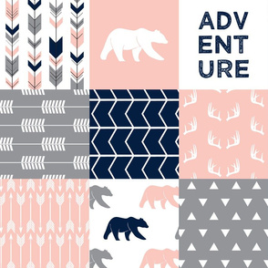 adventure woodland wholecloth || navy&pink