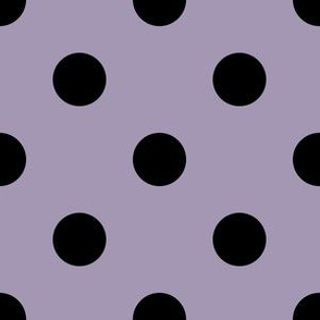 One Inch Black Polka Dots on Amethyst Smoke