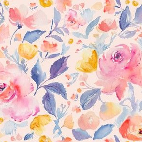 Pink Watercolor Flower Fabric