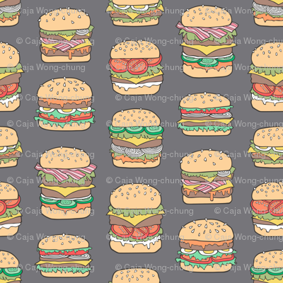 Hamburgers Junk Food Fast food on Dark Grey