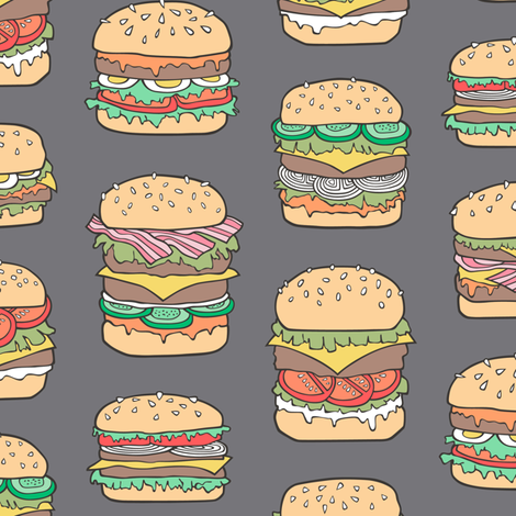 Hamburgers Junk Food Fast food on Dark Grey fabric by caja_design on Spoonflower - custom fabric