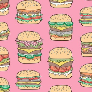 Hamburgers Junk Food Fast food on Pink