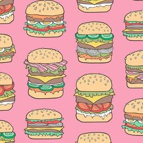 Hamburgers Junk Food Fast food on Pink