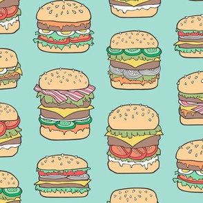 Hamburgers Junk Food Fast food on Mint Green