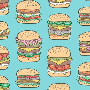 Hamburgers Junk Food Fast food on Aqua Blue