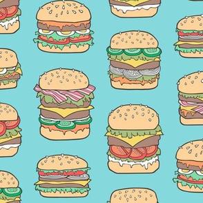 Hamburgers Junk Food Fast food on Aqua Blue