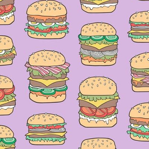 Hamburgers Junk Food Fast food on Purple Purpel