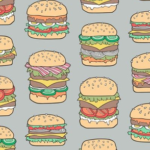 Hamburgers Junk Food Fast food on Grey
