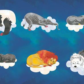 Lake Blue Sleeping Animals Fabric