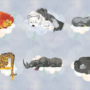 Cool White Sleeping Animals Fabric