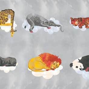 Grey Sleeping Animals Fabric