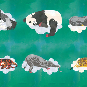 Deep Teal Sleeping Animals  Fabric