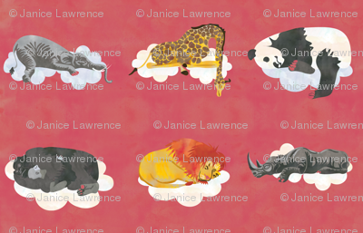 Red Sleeping Animals Fabric