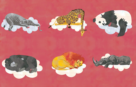 Red Sleeping Animals Fabric fabric by jvclawrence on Spoonflower - custom fabric
