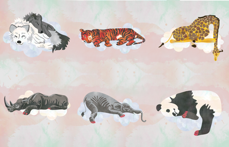 Warm White Sleeping Animals Fabric fabric by jvclawrence on Spoonflower - custom fabric
