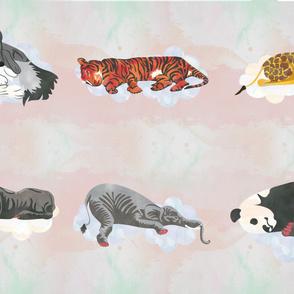 Warm White Sleeping Animals Fabric