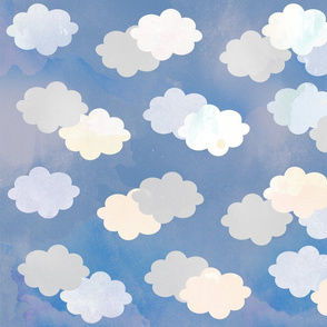 Clouds Scattered on Light Blue Fabric