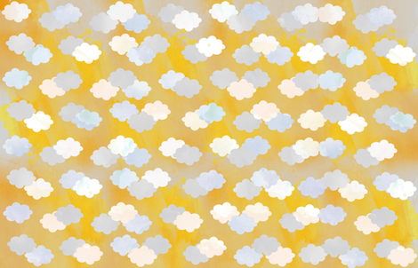 Clouds Scattered on Gold Fabric fabric by jvclawrence on Spoonflower - custom fabric