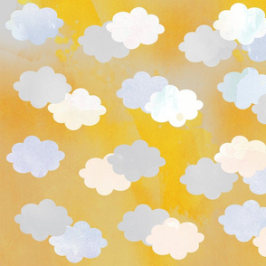 Clouds Scattered on Gold Fabric