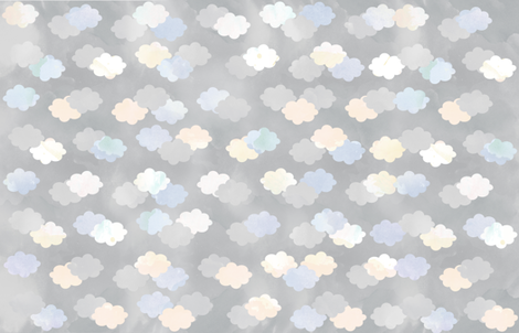 Clouds Scattered on Grey Fabric fabric by jvclawrence on Spoonflower - custom fabric