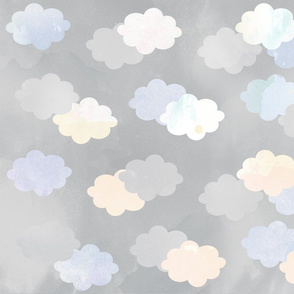 Clouds Scattered on Grey Fabric