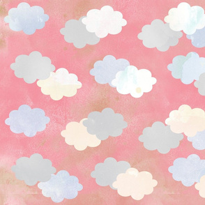 Clouds Scattered on Pink Fabric