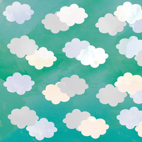 Clouds Scattered on Teal Fabric