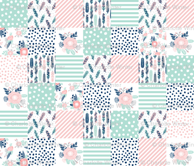 feathers cheater quilt mint navy pink girls cheater quilt design cute girls fabrics