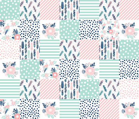 feathers cheater quilt mint navy pink girls cheater quilt design cute girls fabrics fabric by charlottewinter on Spoonflower - custom fabric