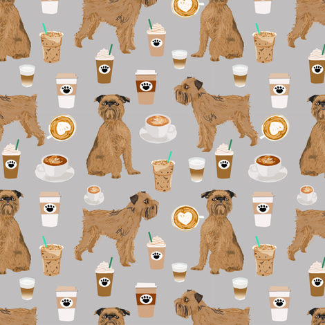 brussels griffon grey coffee fabric cute coffees and dogs design fabric by petfriendly on Spoonflower - custom fabric