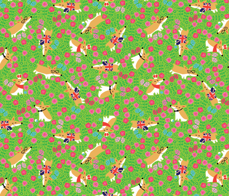 Happy Friends- Cutie Corgis fabric by cynthiafrenette on Spoonflower - custom fabric