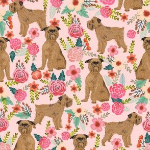 brussels griffon florals dog fabric cute floral vintage les fleurs fabric cute flowers and pets dog fabric