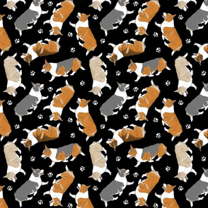 Trotting Pembroke Welsh Corgis and paw prints - black