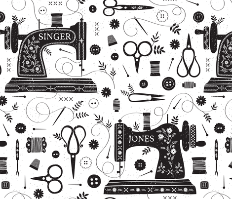 Sew Vintage // by petite_circus // sewing machine black and white fabric by petite_circus on Spoonflower - custom fabric