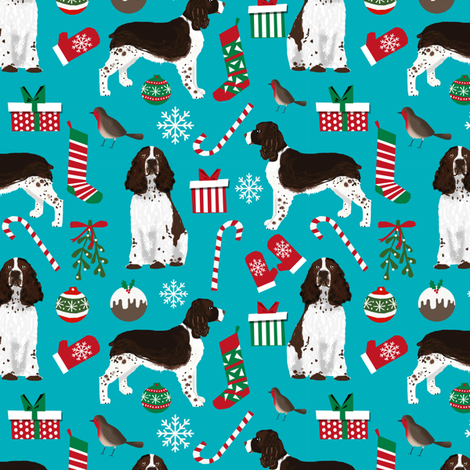 english springer spaniel christmas dogs fabric cute dog fabric cute xmas holiday christmas dogs fabric fabric by petfriendly on Spoonflower - custom fabric