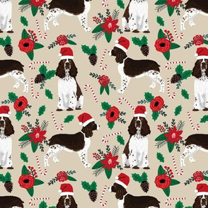 english springer spaniel dogs fabric poinsettia dogs fabric cute christmas dogs dog christmas fabric santa paws fabric