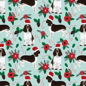 english springer spaniel dogs fabric poinsettia dogs fabric cute christmas dogs dog christmas fabric santa paws fabric