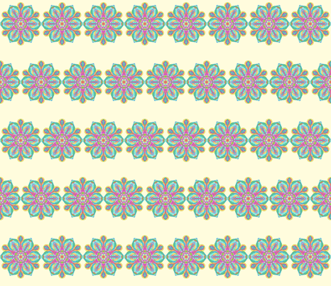 Spoonstar Flower Lacy Ribbons on Magnolia Cream fabric by rhondadesigns on Spoonflower - custom fabric