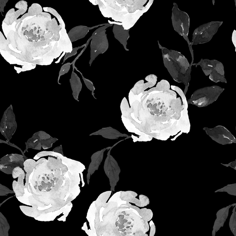 Gypsy Heart - Black and White - Black fabric by shopcabin on Spoonflower - custom fabric