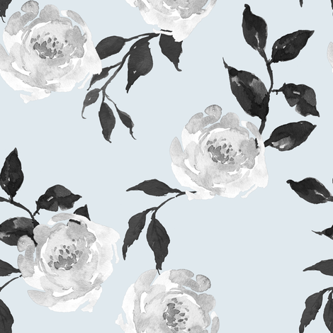 """8"""" Gypsy Heart - Black and White - Blue fabric by shopcabin on Spoonflower - custom fabric"""