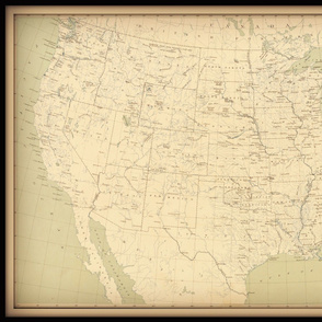 USA vintage map, neutral colors, large