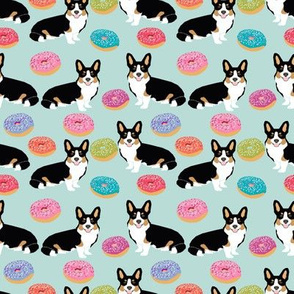 corgi tricolored fabric cute donuts mint donut design best tricolored corgis fabric