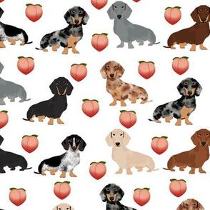 dachshund dogs fabric peach emojis cute dogs fabric